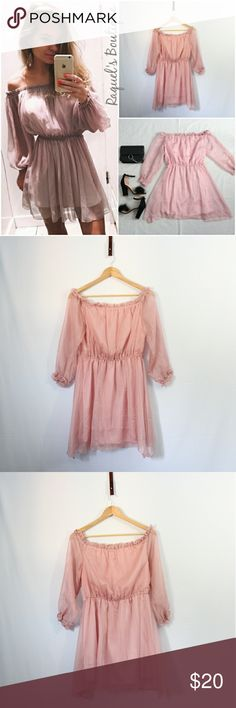 Giselle Mauve Peasant Dress Details: Mauve pink flowy off the shoulder peasant dress with 3/4 length sleeves and a chiffon overlay  Brand: Boutique Brand  Size: Medium Measurements: Bust/32-34 inches Waist/26-32 inches Length/28.5 inches  Size: Large Measurements: Bust/34-36 inches Waist/27-34 inches Length/29 inches  Condition: New and packaged with boutique tags Dresses