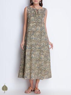 Buy Black Indigo Beige Natural Dye Kalamkari Printed Handloom Cotton Dress with Pockets by Jaypore SALE! Online at Jaypore.com