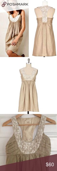 """Anthropologie Molly New York Gorgeous Dress Worn once, great condition! Molly New York """"Sweet Olive Shift"""" Dress purchased at Anthro. Dress is gorgeous, it has glittering gold threads woven through and lace detailing in the scoop necklace and t-back. Would be perfect to wear to a spring/summer wedding ! I would suggest this dress for a small bust (tight in the chest.) Side zipper, fully lined, and has pockets. 36"""" long. Anthropologie Dresses Mini"""
