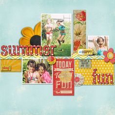 Summer Fun - Scrapbook.com...I don't do digital but I love the layering idea that could totally be done with traditional scrapbooking!