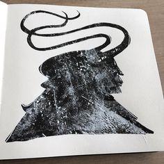"1,937 curtidas, 6 comentários - Jeffrey Alan Love (@jeffreyalanlove) no Instagram: ""Friday night sketchbook. #sketch #sketchbook #drawing #painting #acrylic #ink #paper #art…"""