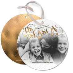 Seasonal Grace - Ornament Cards. 'Tis the Season. Send holiday wishes with trend forward metallic holiday cards.