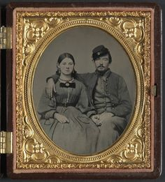 Photograph of a Civil War soldier and his lady, enclosed in a guilded case, c. 1860