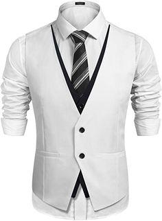 COOFANDY Mens Slim Fit Vest Layering Formal Business Wedding Waistcoat Skinny Tuxedo Vests,White,XX-Large Mens Suit Vest, Men's Waistcoat, Indian Men Fashion, Mens Fashion Suits, Groomsmen Vest, Wedding Vest, Gilet Costume, Designer Suits For Men, Stylish Mens Outfits