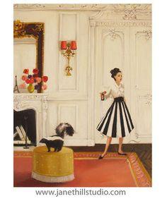 Lisette vs The Skunk. Art Print by Janet Hill Janet Hill, Cello, Colorful Paintings, Art Paintings, Art Studios, Fine Art Paper, Cool Art, Art Photography, Illustration Art