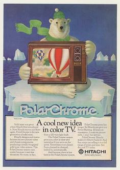 This was the Coca-Cola's polar bear first gig. Hitachi PolarChrome CT-926 Color TV Polar Bear (1976)