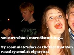 Ron Weasley/Rupert Grint lookalike smoking a cigarette?! Hahaha what is going on in this picture, so much fail