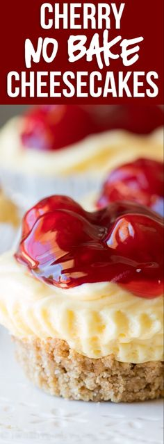 Quick Cherry No Bake Cheesecakes WOW! These Quick Cherry No Bake Cheesecakes are made in a muffin pan so they are perfect for portion control and parties! So quick and so easy to make! Quick Easy Desserts, No Bake Desserts, Just Desserts, Delicious Desserts, Dessert Recipes, Yummy Food, Easy Recipes, Vegan Recipes, Mini Desserts