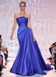 Vestito plissè azzurro Zuhair Murad