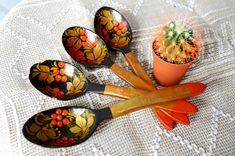 Set of 4 Hand Painted Wood Spoon Russian Khokhloma Kitchen