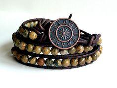 Triple Wrap Earthy Verdite Leather Wrap Bracelet.