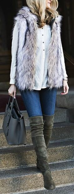 fur gilet. denim. over the knee boots. street style.