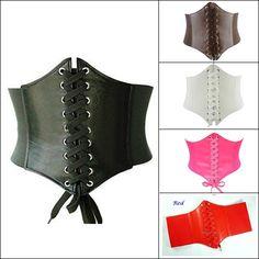 wide leather waist belt | Brand-New-PU-Leather-Womens-Ladies-Wrap-around-Tie-Corset-Cinch-Waist ...