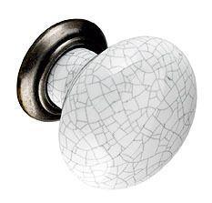 Second Nature Holmes Porcelain And Antiqued Pewter Cupboard Knob - Grey Crackle