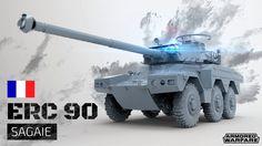 Après nous avoir présenté les véhicules de rang 8 avant-hier en vidéo, Obsidian Entertainment et My.com annoncent ce vendredi l'arrivée prochaine d'un monstre français de plus de huit tonnes : L'ERC 90 Sagaie. Ce véhicule de reconnaissance et chasseur de char n'est pas rapide avec ses 95km/h de pointe mais il a une grosse puissance de feu pour un rang 3.