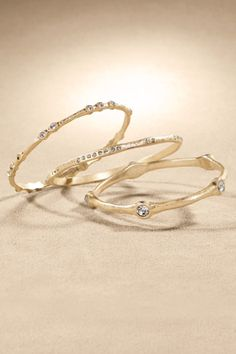 Everyday Bangle Trio - Slender, gleaming golden bangles will bring sophisticated chic to your style | Soft Surroundings