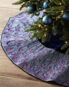 Peacock Christmas tree skirt from Bergdorf