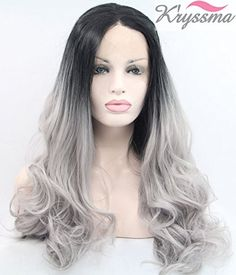 Kryssma Chirstmas Long Wavy Gray Ombre Synthetic Lace Front Wig Black Roots Heat Resistant Fiber Hair 2 Tones Half Hand Tied 24 Inches For Halloween  Black Friday Party ** Visit the image link more details.