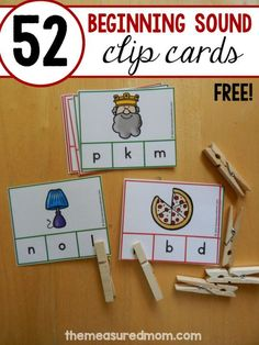 These beginning sound clip cards are a wonderful free beginning sounds activity!… These beginning sound clip cards are a wonderful free beginning sounds activity! Print them to use in preschool, kindergarten, or even first grade. Kindergarten Centers, Kindergarten Reading, Preschool Learning, Preschool Activities, Preschool Kindergarten, Beginning Sounds Kindergarten, Teaching Kids, Teaching Letter Sounds, Teaching Letters
