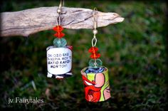 Comic Book Earrings-Paper Earrings by jvFairytales on Etsy Diy Jewellery, Unique Jewelry, Paper Earrings, Wind Chimes, Fairy Tales, Comic Books, Christmas Ornaments, Holiday Decor, Handmade Gifts
