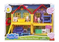 Peppa Pig Peppa's Deluxe House Play Set w/ (3) FIGURES Peppa`George' Suzy #Jazwares