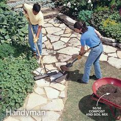 How to Build a Stone Path: Build this simple path with sand, stone and lots of muscle Read more: http://www.familyhandyman.com/garden-structures/garden-paths/how-to-build-a-stone-path/view-all
