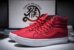 Limited Vans Monkey Rules Red SK8 High Skateboard Shoes #Vans