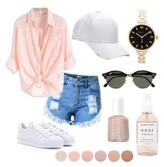 """"""""""" by sydneybottom on Polyvore featuring Topshop, adidas, Ray-Ban, Marc by Marc Jacobs, Herbivore Botanicals, Essie and Deborah Lippmann"""