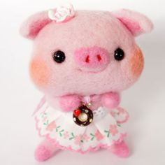 Needle felted felting felt woolfelt pig piggy piglet miss kawaii chubby fat adorable