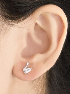 Silver Swan American Diamond Studded Earrings Online In India At Best Price