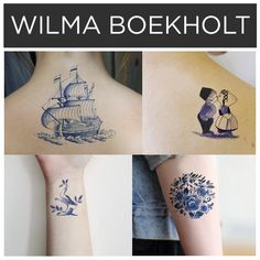 Designs in blue ink by Wilma Boekholt.   15 Incredible Artists Who Will Change Your Mind About Temporary Tattoos