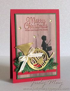 Stampin' Up! Musical Season - Judy May, Just Judy Designs Stamped Christmas Cards, Stampin Up Christmas, Christmas Cards To Make, Christmas Greeting Cards, Christmas Greetings, Holiday Cards, Christmas Crafts, Christmas Music, Musical Cards