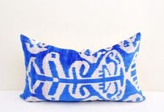 Blue Velvet Ikat pillow cover Hand woven - Pure Silk.  Size - 15 x 23