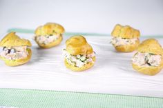 Baby Chicken Salad Puffs by Clinton Kelly. I would substitute dried cranberries for the raisins in this recipe.