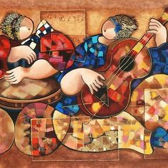 """""""Ethnic Music Players"""" Limited Edition Serigraph  by Dorit Levi  SIGNED W/COA"""
