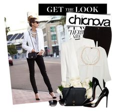 """""""CHICNOVA ♥10♥"""" by majksister ❤ liked on Polyvore featuring Christian Louboutin, M.i.h Jeans, Theory, Rebecca White, top handle bags, peep-toe pumps, wayfarer sunglasses, white blazers, sheer blouses and blogger"""