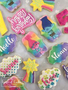 first birthday party idea 2 Birthday, Trolls Birthday Party, Troll Party, Birthday Cookies, 4th Birthday Parties, Birthday Ideas, Rose Cookies, Sugar Cookies, Fancy Cookies