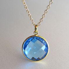 Gold Quartz Pendant Necklace