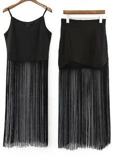 Black Spaghetti Strap Tassel Top With Skirt