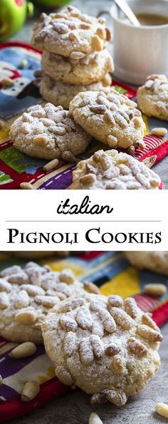 Lidia's Italian Pignoli Cookies - Just a Little Bit of Bacon - - These gluten-free Italian pignoli cookies, adapted from Lidia Bastianich, are a great holiday cookie full of almonds and pine nuts! A great addition to a Christmas cookie tray. Italian Christmas Cookies, Holiday Cookies, Christmas Baking, Lidia Bastianich, Italian Cookie Recipes, Italian Cookies, Italian Foods, Easy Italian Desserts, Italian Ricotta Cookies