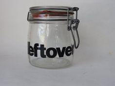 Leftovers Black Typography Glass Canisters, Typography, Lettering, Mason Jars, Conditioner, Mugs, Cool Stuff, Tableware, Etsy