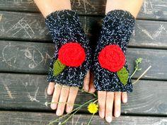 Black Gloves, Knit Mittens, Hand Warmer, Winter Gloves, Flower Knitted Gloves, Women gloves, Arm Warmers, Girls Gloves, Gift Ideas,Jasminejasmine