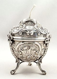 ANTIQUE VICTORIAN STERLING SILVER GOLDSMITHS STRING BOX /HOLDER- 1895