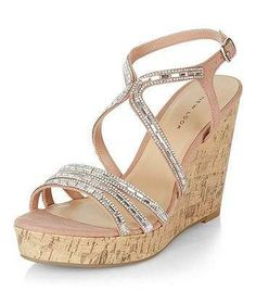 Prezzi e Sconti: #Pink embellished strappy wedge sandals  ad Euro 39.99 in #New look #Shoe gallery view all view