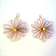 Orecchini bigiotteria fiore rosso rame Lavorati a mano by mariceltibijoux.com  Copper red earrings Handmade by mariceltibijoux.com