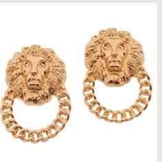 T&J Designs Lion Head Earrings Beautiful earrings that add a nice elegant touch to any outfit. They are brand new from T&J Designs. Gold plated base metals. Nickel free and lead free. This is the final price on these earrings. No offers accepted on this item. T&J Designs Jewelry Earrings