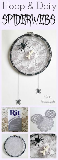 Thrift store embroidery hoop and vintage crocheted doily repurposed as a spiderweb (or spiderweb) for Halloween decor by Sadie Seasongoods / www.sadieseasongoods.com