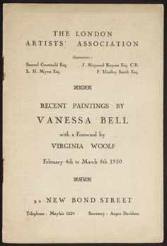 Catalogue for Vanessa Bell's 1930 exhibition, introduced by Virginia Woolf.