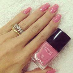 Shiny pink nail polish