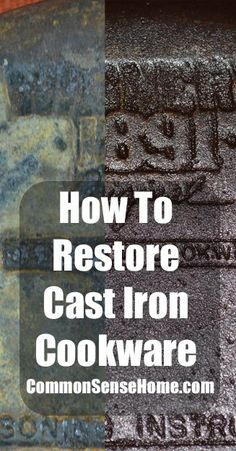 It takes a little time and a bit of workto restore cast iron cookware, but it is really worth the time and effort! Cast Iron Care, Cast Iron Pot, Cast Iron Cooking, Cast Iron Dutch Oven, Clean Cast Iron Skillet, It Cast, Skillet Pan, Look And Cook, Restore Cast Iron